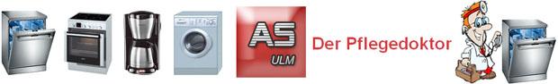Logoleiste AS Ulm Der Pflegedoktor für Ihre Haushaltsgeräte